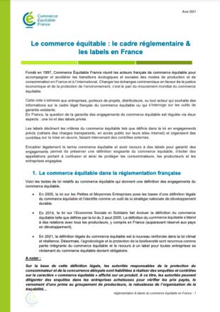 Note sur le cadre réglementaire et les labels de commerce équitable en Franceen France
