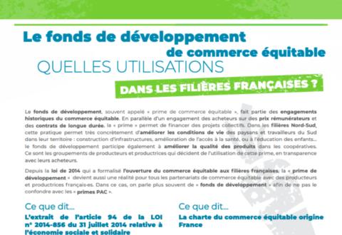 Le fonds de développement de commerce équitable, quelles utilisations dans les filières françaises ?