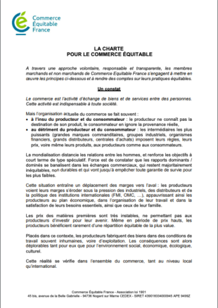 La charte pour le commerce équitable de Commerce Équitable France