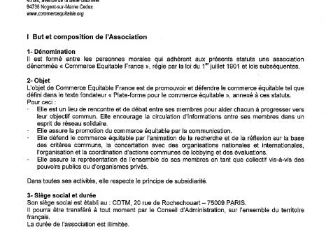 Les statuts de Commerce Équitable France