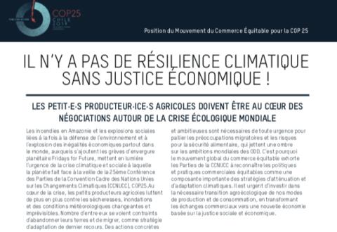 Pas de résilience climatique sans justice économique : les propositions du mouvement mondial du commerce équitable